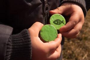 gałki dzieciece - zielone emaliowane - małe rączki